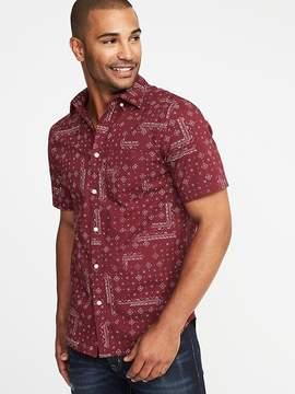 Old Navy Slim-Fit Built-In Flex Printed Classic Shirt for Men