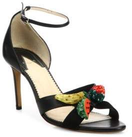 Altuzarra Bisbee Fruit-Embroidered Leather Ankle-Strap Sandals
