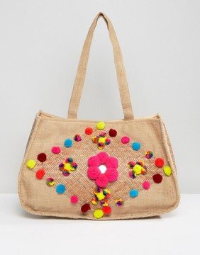Glamorous Jute Beach Bag With Pom Pom Detail