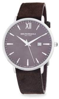Bruno Magli Leather Strap Slim Case Watch