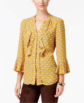 Charter Club Fan-Print Ruffled Blouse, Created for Macy's