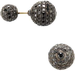 Artisan Women's Black Diamond Ball Earrings