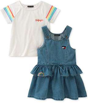 Tommy Hilfiger 2-Pc. Cotton T-Shirt & Cotton Denim Dress Set, Toddler Girls