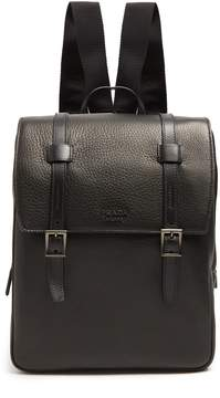Prada Top-flap grained-leather backpack