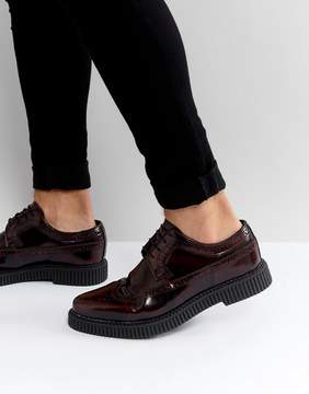 Asos Brogue Shoes With Creeper Sole In Burgundy Leather