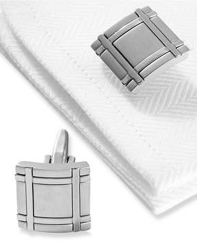 Kenneth Cole Reaction Cufflinks, Brushed Rhodium Square Boxed Set