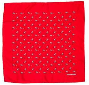 Hermes Silk Barking Dog Print Pocket Square