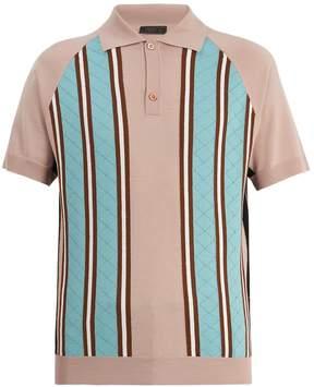 Prada Point-collar striped-knit wool polo shirt