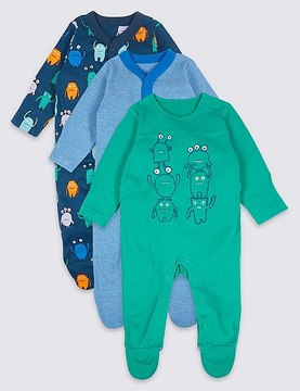 Marks and Spencer 3 Pack Pure Cotton Monster Sleepsuits