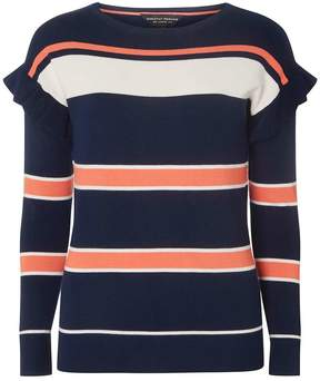Dorothy Perkins Multi Coloured Stripe Print Ruffle Shoulder Jumper