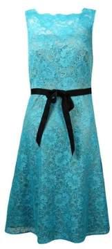 Calvin Klein Women's Belted Illusion V-Back Lace Dress