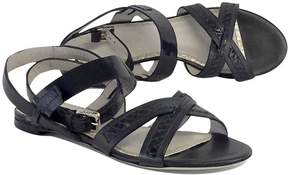 Jason Wu Black Leather Snakeskin Strappy Sandals