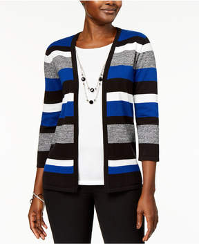 Alfred Dunner High Roller Biadere Layered-Look Necklace Sweater