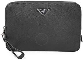 Prada Men's Zip Around Leather Clutch- Black