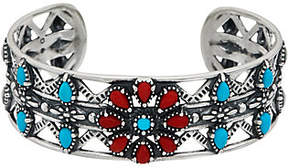 American West Sterling Turquoise & Red CoralFlower Cuff