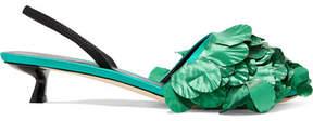Marco De Vincenzo Lamé-embellished Satin Slingback Pumps - Emerald