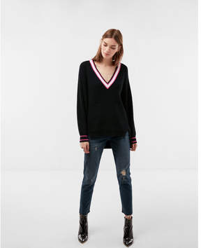 Express oversized striped deep v-neck tunic sweater