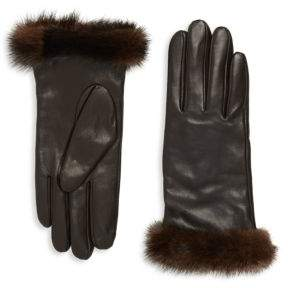 Saks Fifth Avenue Leather & Mink Fur Gloves