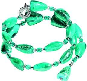 Antica Murrina Veneziana Marina 1 Rigido - Turquoise Green Murano Glass and Silver Leaf Bracelet