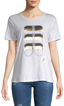 Karl Lagerfeld Paris Women's Stretch Cotton Sunglasses-Print Tee