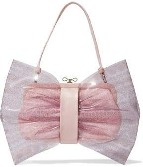 RED Valentino Bow-Embellished Printed Pvc And Leather Shoulder Bag