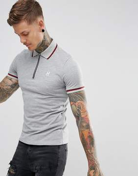 Hype Polo T-Shirt In Gray With Half Zip