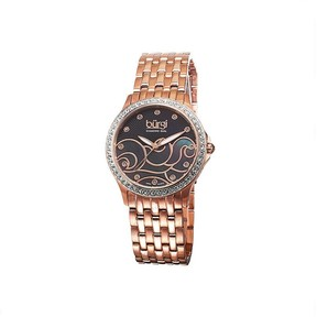 Burgi Black Mother of Pearl Dial Ladies Watch