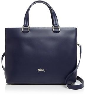 Longchamp Honoré 404 Medium Leather Satchel - NAVY/SILVER - STYLE
