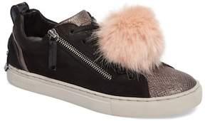 Crime London Faux Fur Pom & Genuine Calf Hair Sneaker