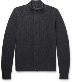 Loro Piana Slim-Fit Suede-Trimmed Ribbed Cashmere Cardigan
