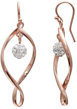 Brilliance+ Brilliance Rose Gold Tone Silver Plated Ball Twist Drop Earrings with Swarovski Crystals