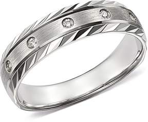 Bloomingdale's Men's Diamond Double-Bevel Edge Band in 14K White Gold, 0.10 ct. t.w. - 100% Exclusive