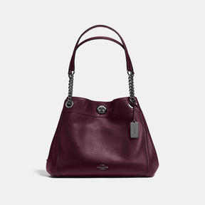COACH Coach Turnlock Edie Shoulder Bag - DARK GUNMETAL/OXBLOOD - STYLE