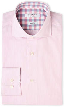 Isaac Mizrahi Pink & White Stripe Slim Fit Dress Shirt