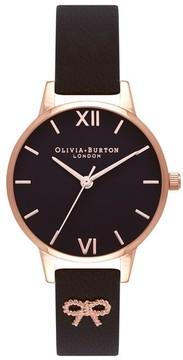 Olivia Burton Women's Vintage Bow Leather Strap Watch, 30Mm