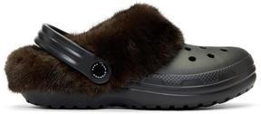 Christopher Kane Black and Brown Crocs Edition Fur-Trimmed Clogs