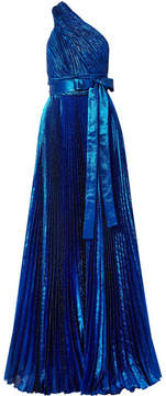 Elie Saab One-shoulder Plissé Silk-blend Lamé Gown - Cobalt blue