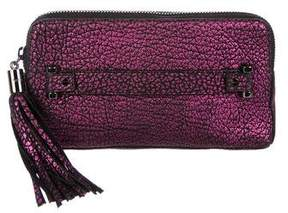 Milly Textured Leather Zip Clutch