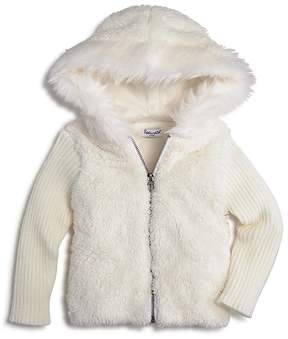 Splendid Girls' Hooded Faux-Fur Sweater with Knit Sleeves - Baby
