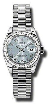 Rolex Lady-Datejust 26 Ice Blue Dial Platinum President Automatic Ladies Watch