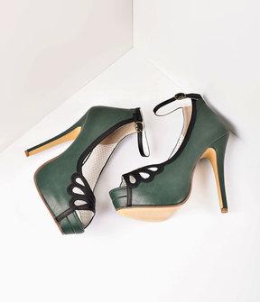 Unique Vintage Retro Style Forest Green & Black Leatherette Peep Toe Platform Cutout Pumps Shoes