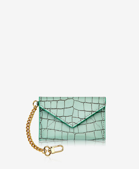 GiGi New York Mini Envelope with Clip, Mint Crocodile Embossed Leather