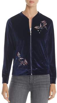 Design History Floral Embroidered Velvet Bomber Jacket