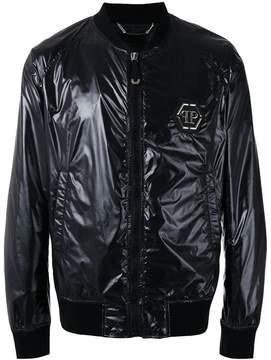 Philipp Plein logo plaque bomber jacket