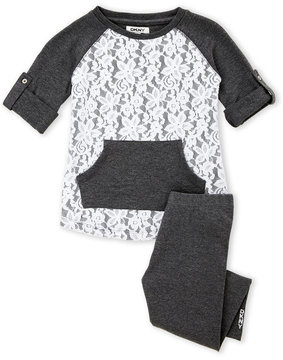 DKNY Girls 4-6x) Two-Piece Lace Raglan Pullover & Leggings Set