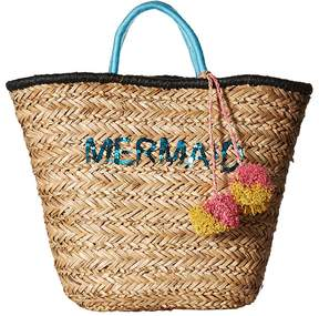 San Diego Hat Company BSB1729 Seagrass Tote with Mermaid Embroidery with Pom Tote Handbags