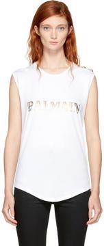 Balmain White Sleeveless Logo T-Shirt