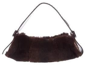 Tod's Snakeskin-Trimmed Fur Handle Bag