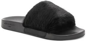 Givenchy Mink Slides in Black.