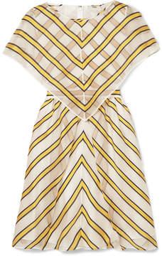 Fendi Cape-effect Cutout Striped Silk-blend Organza Mini Dress - Yellow